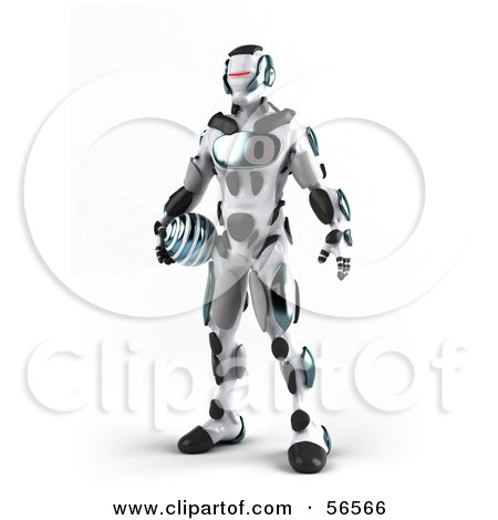 Royalty-Free (RF) Clipart Illustration of a 3d Athletic Robot Character Standing And Holding A Blue Soccer Ball - Version 1 by Julos