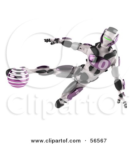 Royalty-Free (RF) Clipart Illustration of a 3d Athletic Robot Character Kicking A Purple Soccer Ball by Julos
