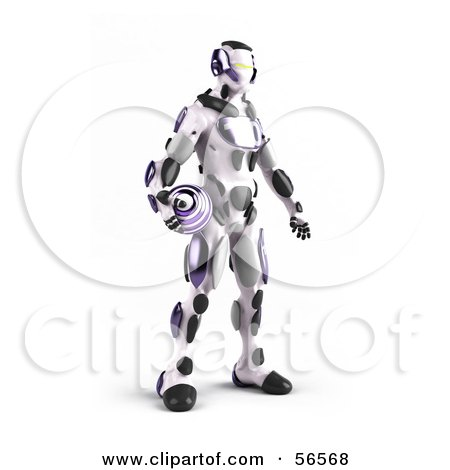 Royalty-Free (RF) Clipart Illustration of a 3d Athletic Robot Character Standing And Holding A Purple Soccer Ball by Julos