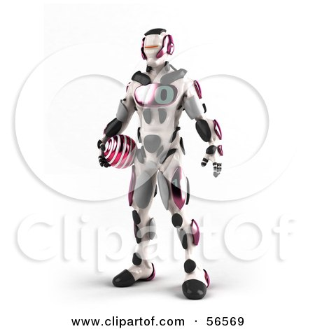 Royalty-Free (RF) Clipart Illustration of a 3d Athletic Robot Character Standing And Holding A Pink Soccer Ball by Julos