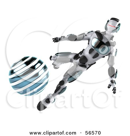 Royalty-Free (RF) Clipart Illustration of a 3d Athletic Robot Character Kicking A Blue Soccer Ball - Version 2 by Julos