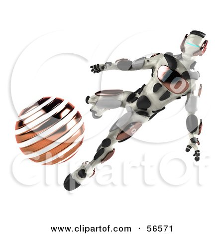 Royalty-Free (RF) Clipart Illustration of a 3d Athletic Robot Character Kicking An Orange Soccer Ball by Julos