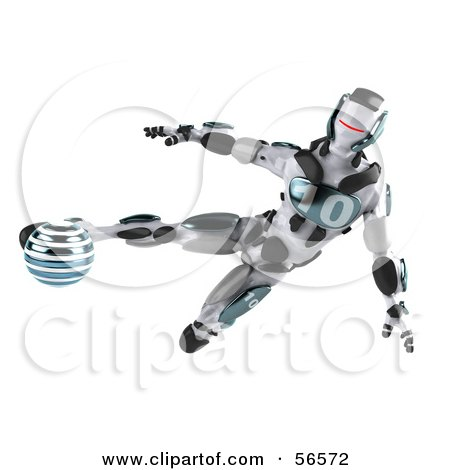 Royalty-Free (RF) Clipart Illustration of a 3d Athletic Robot Character Kicking A Blue Soccer Ball - Version 1 by Julos