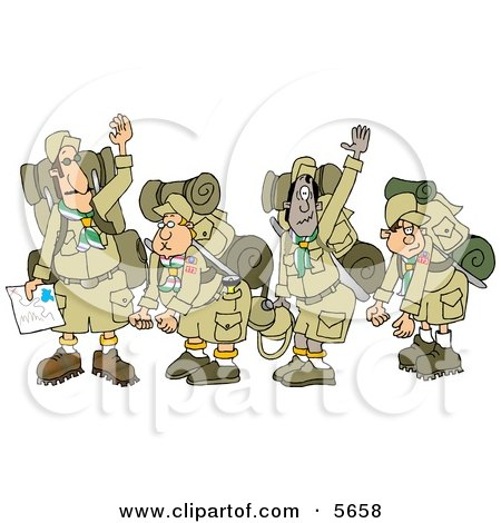 Boy Scout Troops and Scout Leader Waving Goodbye Before Backpacking Posters, Art Prints