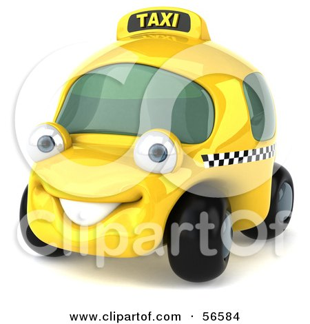Royalty-Free (RF) Clipart Illustration of a 3d Yellow Taxi Cab Character Car - Version 1 by Julos