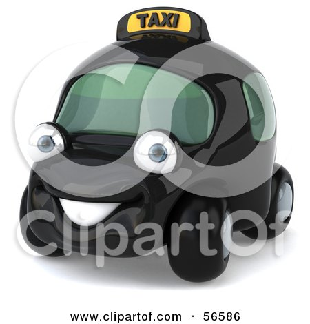 Royalty-Free (RF) Clipart Illustration of a 3d Black Taxi Cab Character Car - Version 1 by Julos