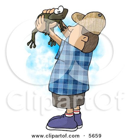 Boy Holding and Looking at a Wild Green Frog in His Hands Posters, Art Prints