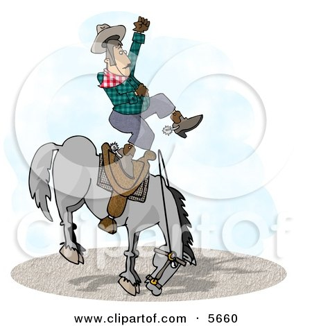 Bareback Bronc Riding at a Rodeo Competition Clipart Illustration by djart