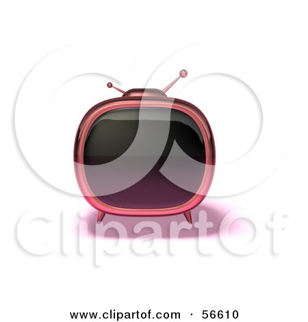 Royalty-Free (RF) Clipart Illustration of a 3d Pink Square Shaped Retro Television - Version 5 by Julos