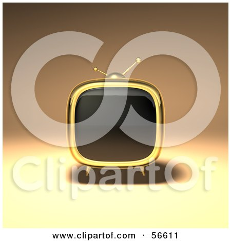 Royalty-Free (RF) Clipart Illustration of a 3d Gold Square Shaped Retro Television - Version 1 by Julos