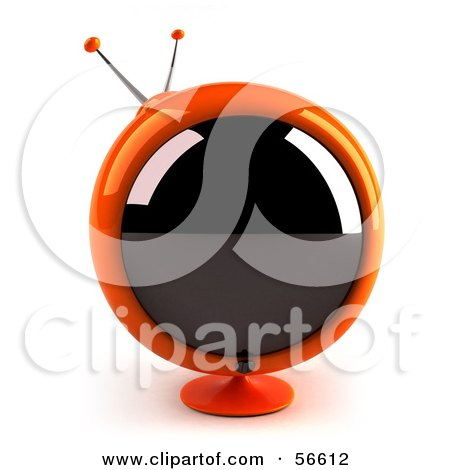 Royalty-Free (RF) Clipart Illustration of a 3d Orange Round Retro Television - Version 1 by Julos
