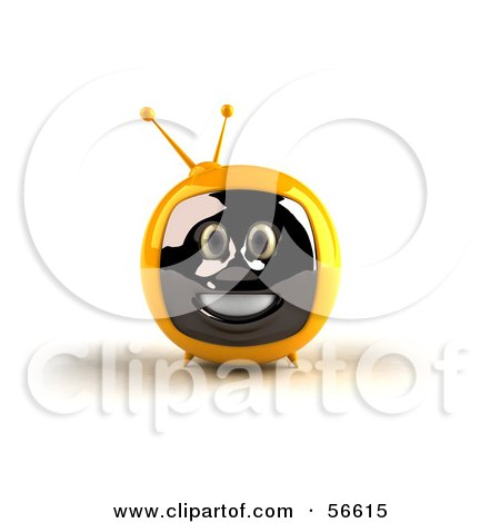 Royalty-Free (RF) Clipart Illustration of a 3d Yellow Smiling Television Face Character - Version 1 by Julos