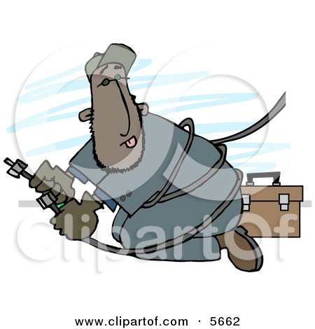 Mexican Repairman Working with Cable Wires Clipart Illustration by djart