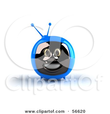 Royalty-Free (RF) Clipart Illustration of a 3d Blue Smiling Television Face Character - Version 1 by Julos