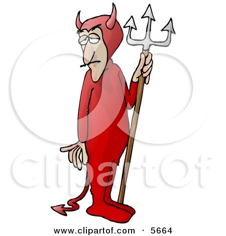 Man Wearing a Devil Costume with a Pitchfork Clipart Illustration by Dennis Cox