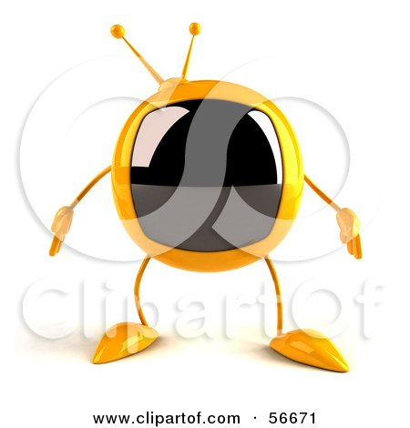 Royalty-Free (RF) Clipart Illustration of a 3d Yellow Square Tele Character Facing Front - Version 1 by Julos