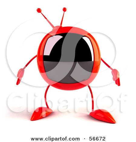Royalty-Free (RF) Clipart Illustration of a 3d Red Square Tele Character Facing Front by Julos