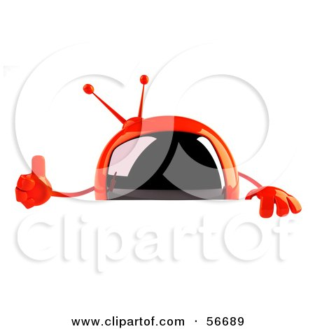 Royalty-Free (RF) Clipart Illustration of a 3d Red Square Tele Character Giving The Thumbs Up And Standing Behind A Blank Sign by Julos