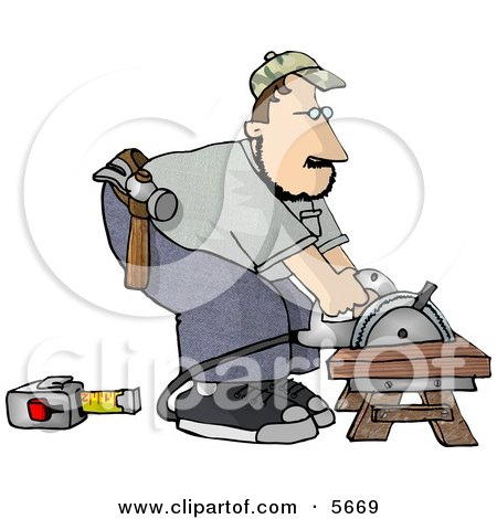 Male Carpenter Cutting Wood On a Sawhorse Posters, Art Prints