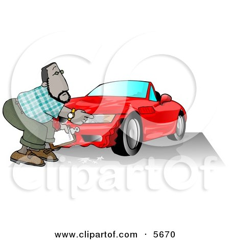 Male Insurance Agent  Accessing Damage of a Wrecked Sports Car Clipart Illustration by djart