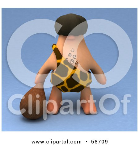 Royalty-Free (RF) Clipart Illustration of a 3d George Caveman Character Carrying A Club - Version 1 by Julos