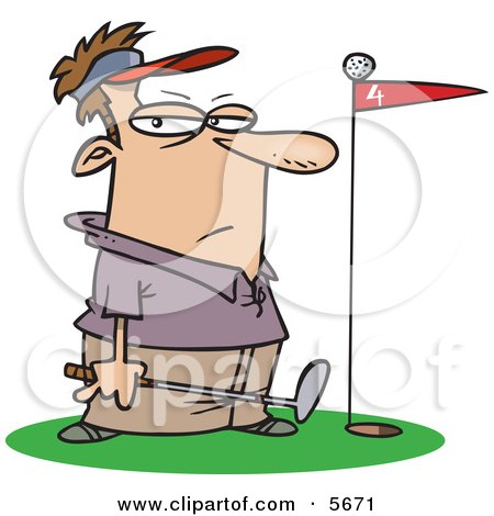 Male Golfer Standing By A Golf Ball On Top Of A Red Flag Clipart Illustration