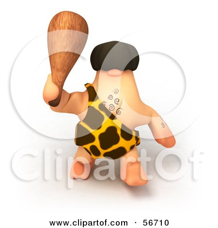 Royalty-Free (RF) Clipart Illustration of a 3d George Caveman Character Waving A Club - Version 3 by Julos
