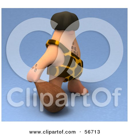 Royalty-Free (RF) Clipart Illustration of a 3d George Caveman Character Carrying A Club - Version 2 by Julos