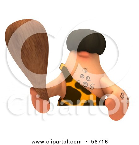 Royalty-Free (RF) Clipart Illustration of a 3d George Caveman Character Holding A Club Over A Blank Sign - Version 3 by Julos