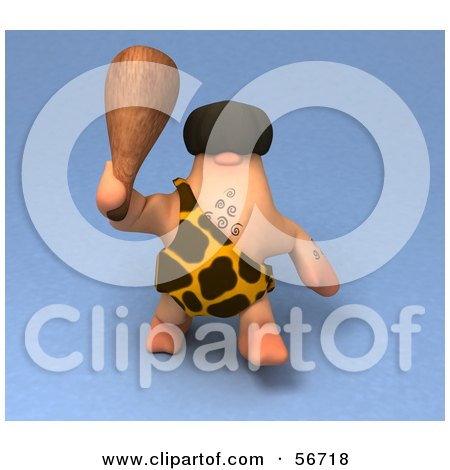 Royalty-Free (RF) Clipart Illustration of a 3d George Caveman Character Waving A Club - Version 1 by Julos