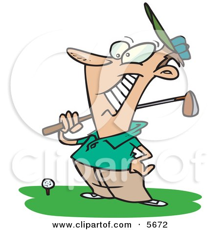Happy Male Golfer Near a Ball, Holding His Golf Club Posters, Art Prints