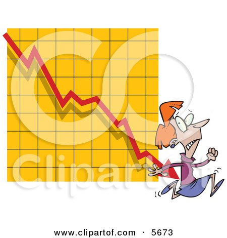 Woman Running From a Bar on a Declining Graph Clipart Illustration by toonaday