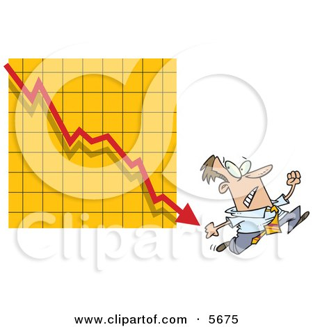 Man Running From a Bar on a Declining Graph Clipart Illustration by toonaday
