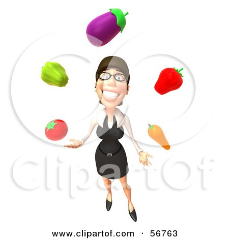 Royalty-Free (RF) Clipart Illustration of a 3d White Businesswoman Character Juggling Veggies - Version 3 by Julos