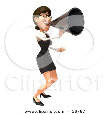 Royalty-Free (RF) Clipart Illustration of a 3d White Businesswoman Character Using A Megaphone - Version 2 by Julos