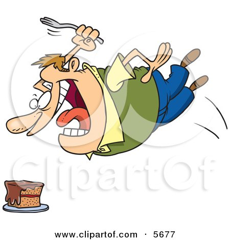 Chubby Caucasian Man Diving Towards a Cake With a Fork Clipart Illustration by toonaday