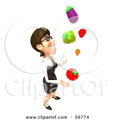 Royalty-Free (RF) Clipart Illustration of a 3d White Businesswoman Character Juggling Veggies - Version 4 by Julos