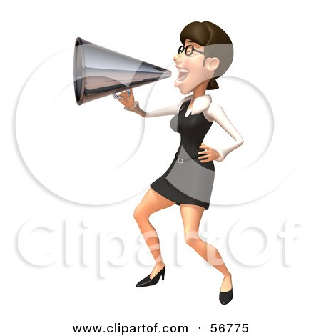 Royalty-Free (RF) Clipart Illustration of a 3d White Businesswoman Character Using A Megaphone - Version 3 by Julos