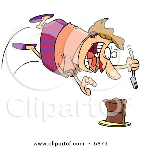 Chubby Caucasian Woman Diving Towards a Cake With a Fork Clipart Illustration by toonaday