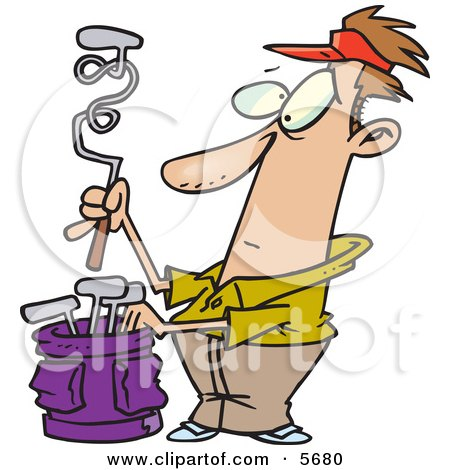 Male Golfer With A Twisted Club Clipart Illustration