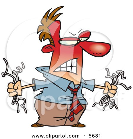 Angry Red Faced Man Holding Torn Computer Wires Clipart Illustration by toonaday