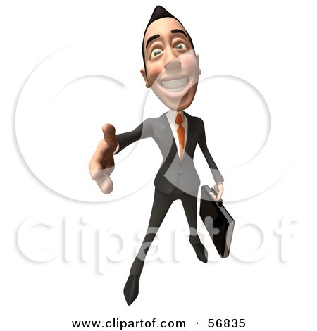 Royalty-Free (RF) Clipart Illustration of a 3d White Businessman Character Holding His Hand Out To Shake - Version 3 by Julos