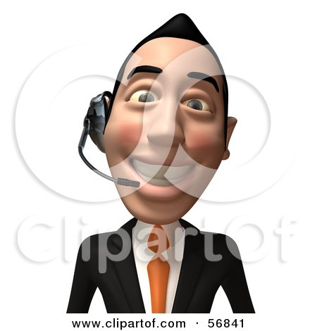 Royalty-Free (RF) Clipart Illustration of a 3d White Businessman Character Wearing A Headset - Version 2 by Julos