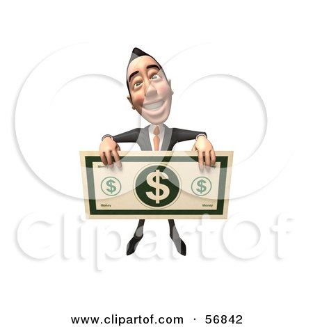 Royalty-Free (RF) Clipart Illustration of a 3d White Businessman Character Holding A Large Banknote - Version 4 by Julos