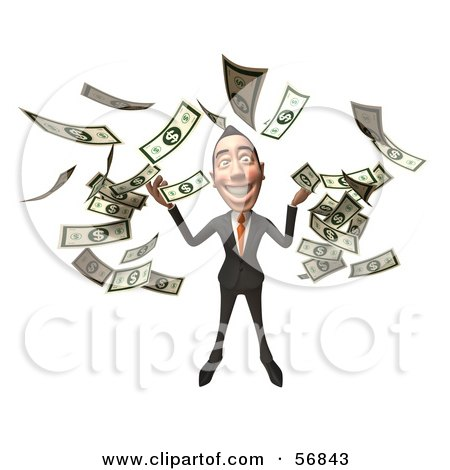 Royalty-Free (RF) Clipart Illustration of a 3d White Businessman Character Throwing Money - Version 4 by Julos