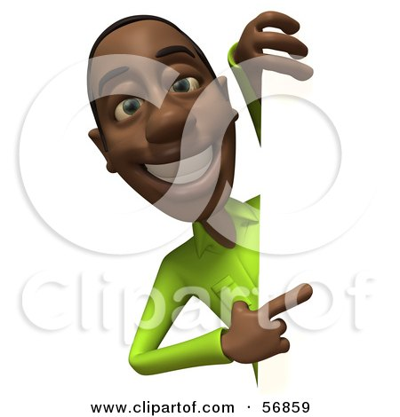 Royalty-Free (RF) Clipart Illustration of a 3d Casual Black Man Character Pointing And Looking Around A Blank Sign by Julos