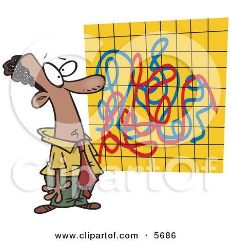 African American Man Looking at a Crazy Graph Chart Clipart Illustration by toonaday