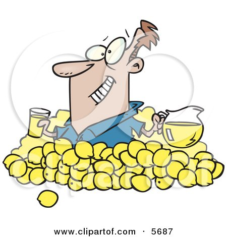 Man With Lemons, Pitcher of Lemonade and a Glass of Juice Clipart Illustration by toonaday