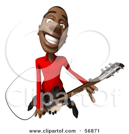 Royalty-Free (RF) Clipart Illustration of a 3d Casual Black Man Character Playing An Electric Guitar - Version 4 by Julos