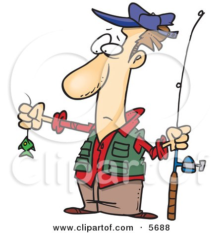 Disappointed Fisherman With A Very Small Fish Clipart Illustration